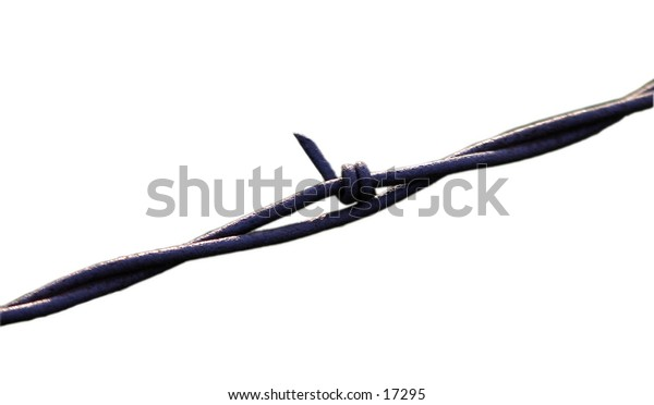 Bared wire fence isolated.