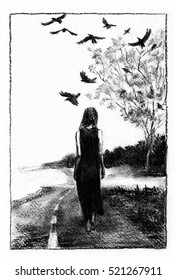 Barefoot girl on the road Woman walking the road across the wild prairie, crows circling over lone tree. Charcoal illustration.