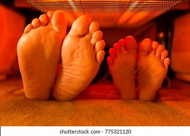 barefoot in the inside of kotatsu