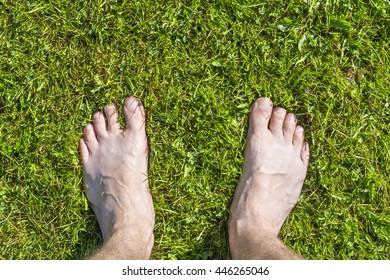 Barefoot legs on green grass