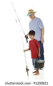 A barefoot preschooler delightedly going fishing with his grandpa. On a white background.