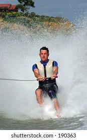 Barefoot water skier...