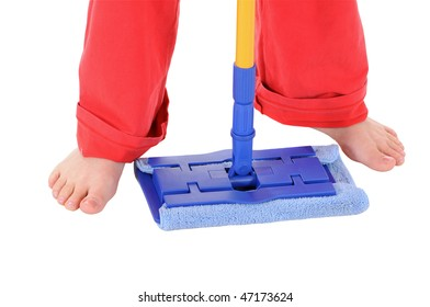 The barefoot woman holds blue a mop