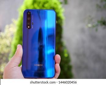 Bareggio, Milan, Italy - 08 July 2019 - smartphone Honor 20