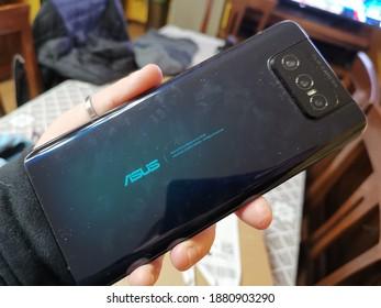 Bareggio, Milan, Italy - 10 December 2020 - Asus Zenfone 7 Pro