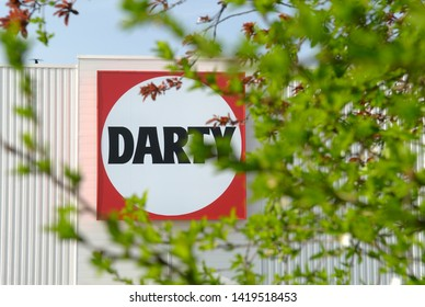 Barentin, Normandy, France, March 2012. Darty is a multinational electrical retailing French company, computer and audiovisual equipment.  Shop commercial sign and logo