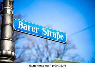 Barer Strasse, street sign in Munich - Shutterstock ID 1969918996