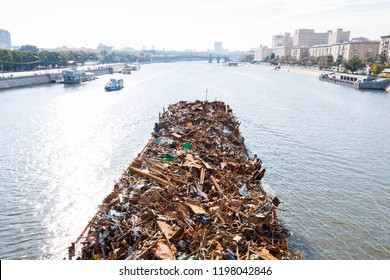 barge with garbage in Moscow