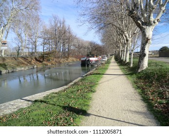 Barge on the Canal du Midi in winter near Carcassonne, France