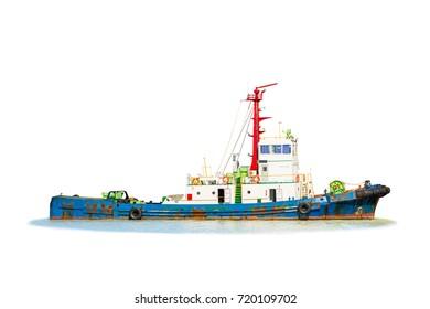 Barge, Tug Boat isolated on white background.
