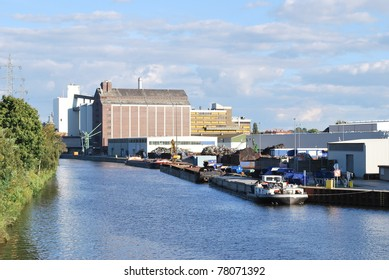 Barges and scrap iron facility at Westhafen docks, Berlin, Germany