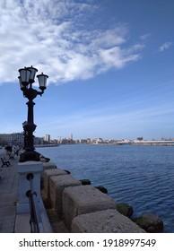 Bari, Apulia, Italy, February 13, 2020: View of the city center, sea and port from the Nazario Sauro promenade.