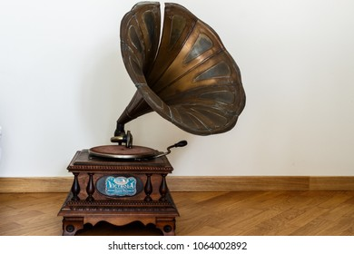 Bari, Italy / 03 31 2018: An old object for home. A gramophone, a vintage instrument for classical music.