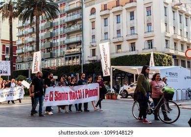 Bari, Italy - 04 21 2018: Demonstration on the rights of nature, people on the streets to block the construction of new incinerators in Puglia, southern Italy region.
