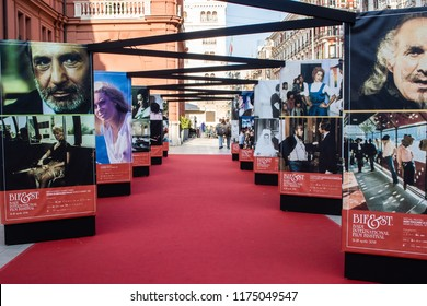 """Bari, Italy - 04 21 2018: The """"Bifest"""" is a festival on the national and international film that takes place every year in the city of Bari, Italy, based at the Petruzzelli Theater."""