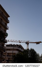 Bari, Italy - 04 22 2018: Building maintenance work in the city of Bari, in Italy.
