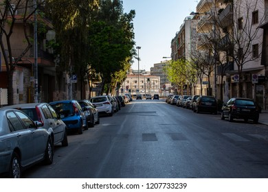 Bari, Italy - 04 22 2018: Morning on the streets of the city of Bari, in the south of Italy.