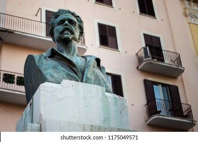 Bari, Italy - 04 25 2018: Statue dedicated to Cesare Battisti, an Italian journalist and patriot, in the university square of Bari, a city in southern Italy.