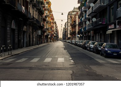 Bari, Italy - 04 25 2018: Morning on the streets of the city of Bari, in the south of Italy.