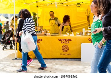 Bari, Italy - 04 29 2018: A fair organized in the city of Bari, in Italy, to promote the agricultural sector to children and families with the sale of typical products from all Italian regions.