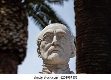 Bari, Italy - 04 29 2018: Statue of the Italian deputy Giuseppe Massari in a square in Bari, Italy. Journalist, patriot and father of the Italian Risorgimento.