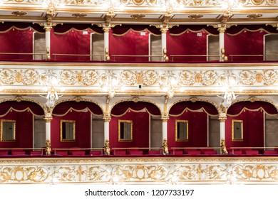 Bari, Italy - 05 26 2018: Interior of the Petruzzelli theater in Bari, city of southern Italy.