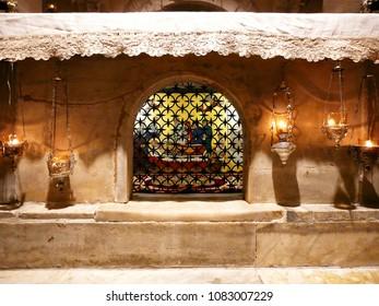 Bari / Italy - 05.23.2016: The Pontifical Basilica di San Nicola. St. Nicholas' Tomb in the crypt.