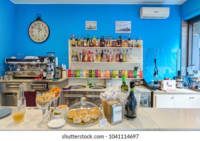 BARI, ITALY - 07 FEBRUARY, 2018: Interior of coffee shop. Old Town district. Bari, Italy.