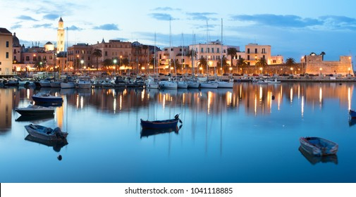 BARI, ITALY - 07 FEBRUARY, 2018: Evening view of marina with different boats. Old Town district. Bari, Italy.