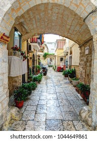 BARI, ITALY - 07 FEBRUARY, 2018: Tiny streets in the Old Town district. Bari, Italy.