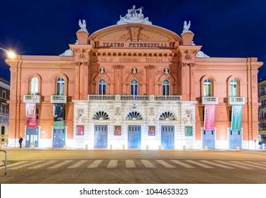 BARI, ITALY - 07 FEBRUARY 2018: Night view of Petruzzelli theater facade. Bari, Italy.