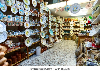 BARI, ITALY - 07 FEBRUARY, 2018: Souvenir and ceramic store. Old Town district. Bari, Italy.
