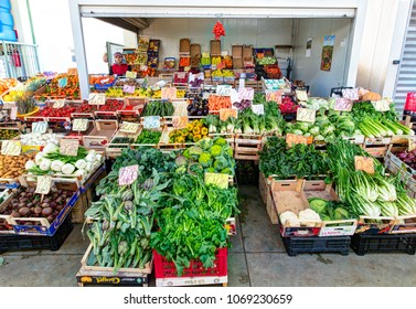 BARI, ITALY - 09 FEBRUARY 2018: Traditional Italian open air market. Place with various fresh vegetables. Bari, Italy.