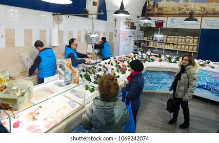 BARI, ITALY - 09 FEBRUARY 2018: Fresh various seafood in Pescheria shop. Bari, Italy.