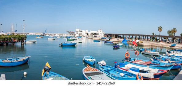 Bari, Italy, 23.4.2019: Harbor Bari in Italy with yachts and boats in dock.