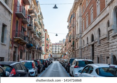 Bari, Italy, 23.4.2019: Typical italian street in Bari, Italy. Typical architecture.