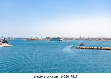 Bari, Italy, 24.4.2019: Panorama of big cruise ship Aida in port Bari, Italy. Travel Cruise Aida.
