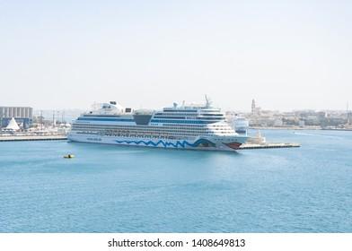 Bari, Italy, 24.4.2019:  Travel Cruise Aida. Panorama of big cruise ship Aida in port Bari, Italy. Travel Cruise Aida.