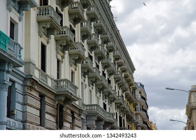 BARI, ITALY APRIL 01, 2018: Bari row balcons of of typical house in a traditional part of the city. Bari is the capital of Apulia region.