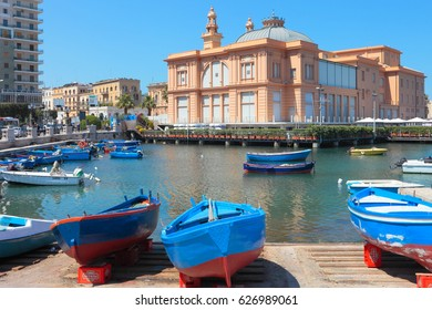 BARI, ITALY APRIL 23, 2017: View of historical Margherita Theater from the old harbor. Characterized by its Liberty style, this is a rare example of theater built directly on the sea.