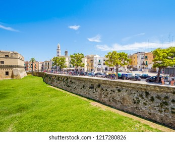 Bari, Italy - Jul 8, 2018: View of Swabian Castle, old town. Bari is the capital city of the Metropolitan City of Bari and of the Apulia region, on the Adriatic Sea, in southern Italy