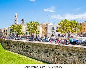 Bari, Italy - Jul 8, 2018: View of old town in the Italian city Bari. Bari is the capital city of the Metropolitan City of Bari and of the Apulia region, on the Adriatic Sea, in southern Italy