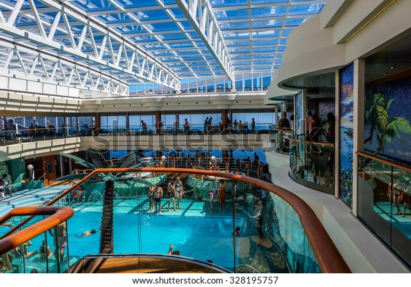 BARI, ITALY, July 14, 2014 - The large tropical indoor pool on the cruise ship MSC Fantasia