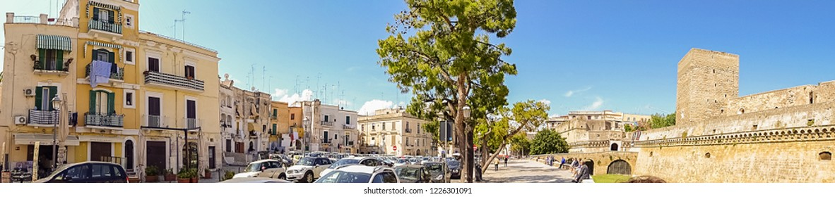 Bari, Italy - July, 2014: Panoramic view of Square in old town of Bari, Italy. Bari is capital city of Metropolitan City of Bari and of Apulia region, on Adriatic Sea, in southern Italy