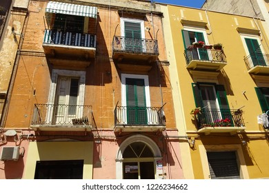 Bari, Italy – July, 2014: Typical Italian residential architecture. Apartment building in the Italian city Bari. Bari is capital city of Metropolitan City of Bari and of Apulia region, on Adriatic Sea