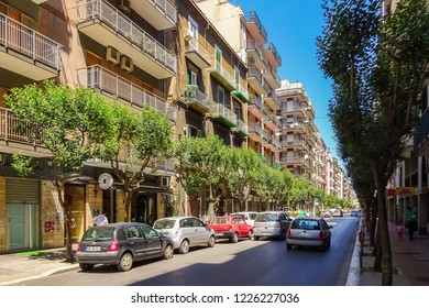 Bari, Italy - July, 2014: View of a narrow street in the Italian city Bari. Bari is the capital city of the Metropolitan City of Bari and of the Apulia region, on the Adriatic Sea, in southern Italy