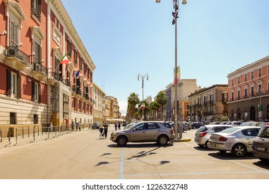 Bari, Italy - July, 2014: View of street in Italian city Bari. Bari is capital city of Metropolitan City of Bari and of Apulia region, on the Adriatic Sea, in southern Italy