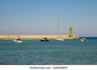 Bari, Italy - July, 2014: View of the port, the feast and the sea in Italian city Bari. Bari is capital city of Metropolitan City of Bari and of Apulia region, on Adriatic Sea, in southern Italy