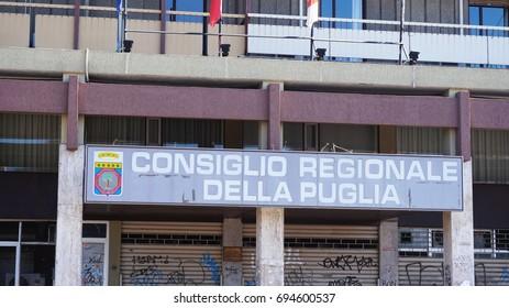 BARI, ITALY - JULY 28, 2017: view of Regione Puglia palace in via Capruzzi street with signboard Consiglio regionale della Puglia, Bari, Italy