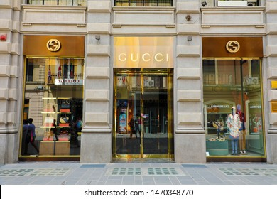 BARI, ITALY - JULY 30, 2019: Gucci boutique. Gucci is an Italian luxury brand of fashion and leather goods, founded by Guccio Gucci in Florence in 1921.